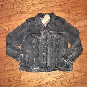 Women's Levi's Black Denim Trucker Jacket 1X NWT
